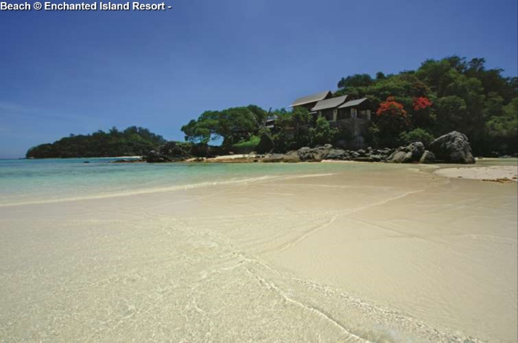 Beach of Round Island with Enchanted Island Resort (Seychelles)