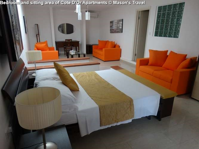 Bedroom and sitting area of Cote D'Or Apartments (Praslin)