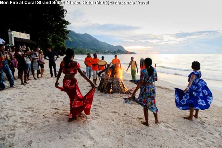 Traditional dance (Moutia) with bon fire at Coral Strand Smart Choice Hotel (Mahé) © Masons's Travel