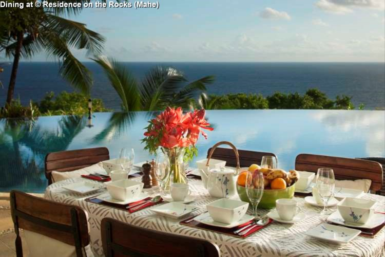 Dining area © Residence on the Rocks (Mahe)