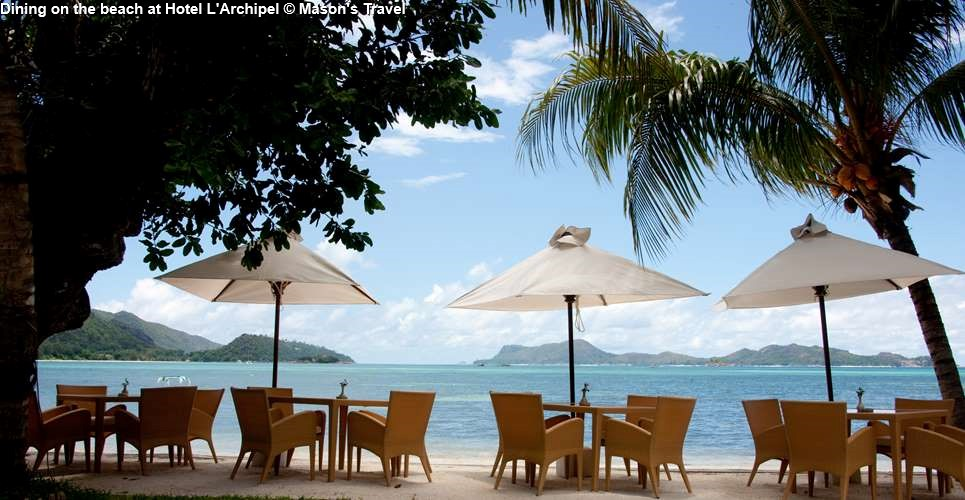 Dining on the beach of Hotel L'Archipel (Praslin)