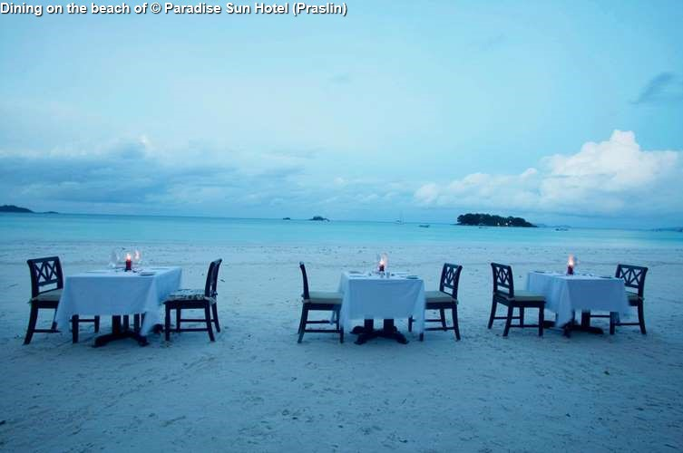 Dining on the beach of Paradise Sun Hotel (Praslin)