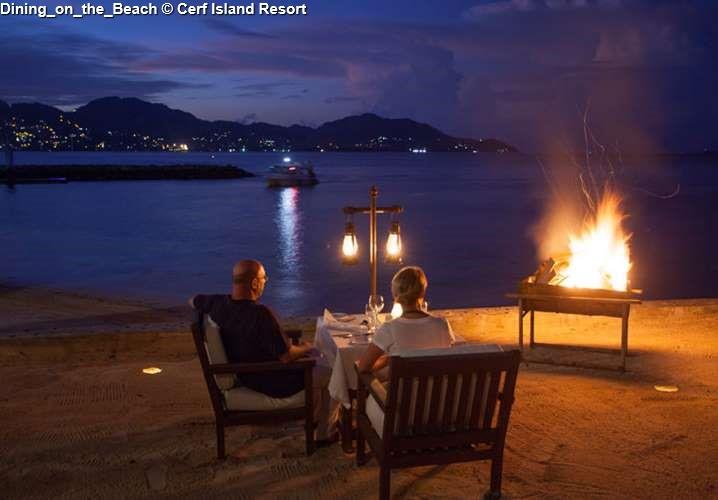 Dining on the beach on Cerf Island