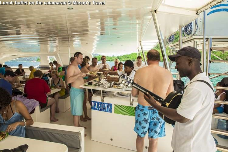 Lunch buffet on the catamaran