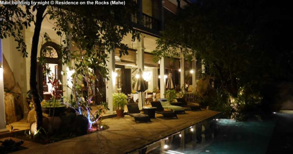 Main building by night © Residence on the Rocks (Mahe)