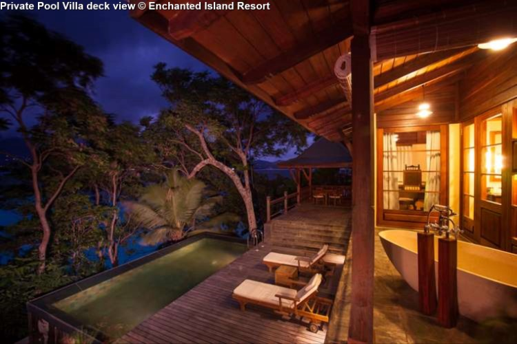 Private Pool Villa deck view © Enchanted Island Resort