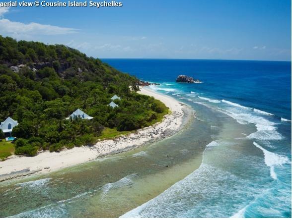 aerial view Cousine Island Seychelles