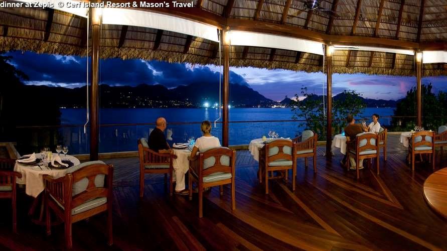 dinner at Zepis Cerf Island Resort