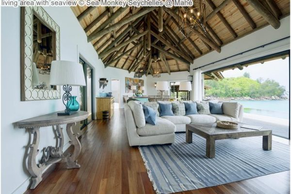 living area with seaview Sea Monkey Seychelles @ Mahé